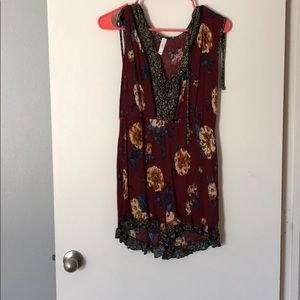 Maroon Floral Romper: Only worn once!